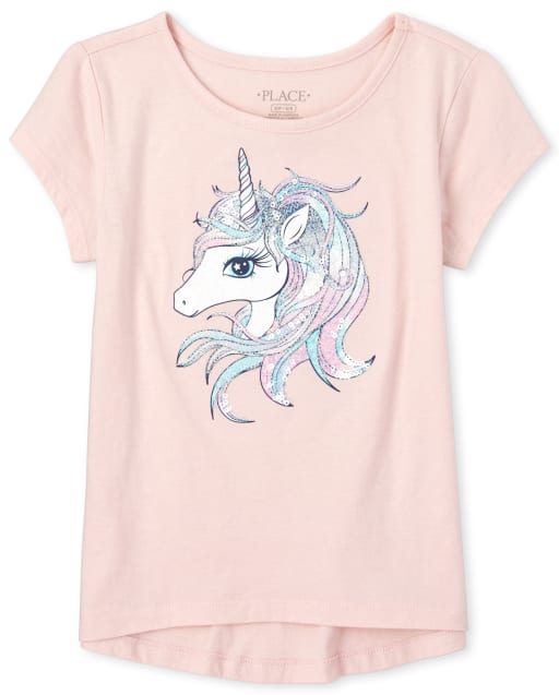 Girls Short Sleeve Glitter And Sequin Unicorn Graphic Top