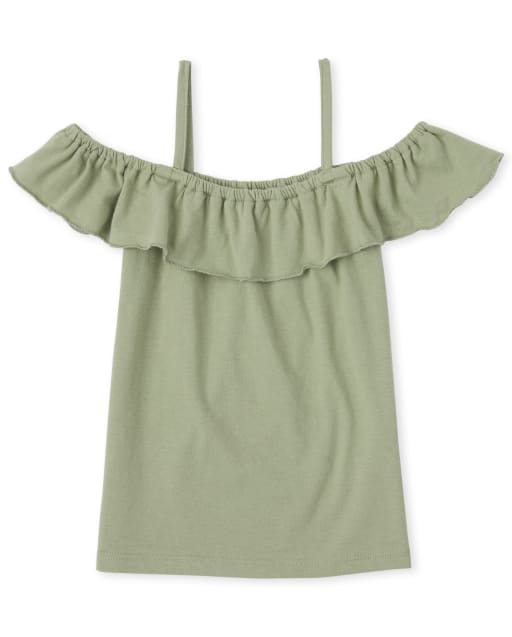 Girls Mix And Match Short Sleeve Ruffle Off Shoulder Top