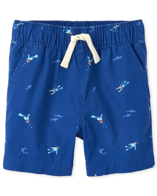 Baby And Toddler Boys Scuba Diver Print Woven Pull On Jogger Shorts