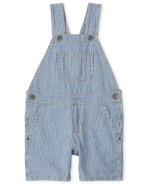 Baby And Toddler Boys Sleeveless Striped Denim Shortalls