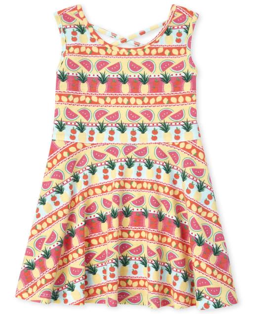 Baby And Toddler Girls Sleeveless Pineapple Print Knit Cross Back Dress