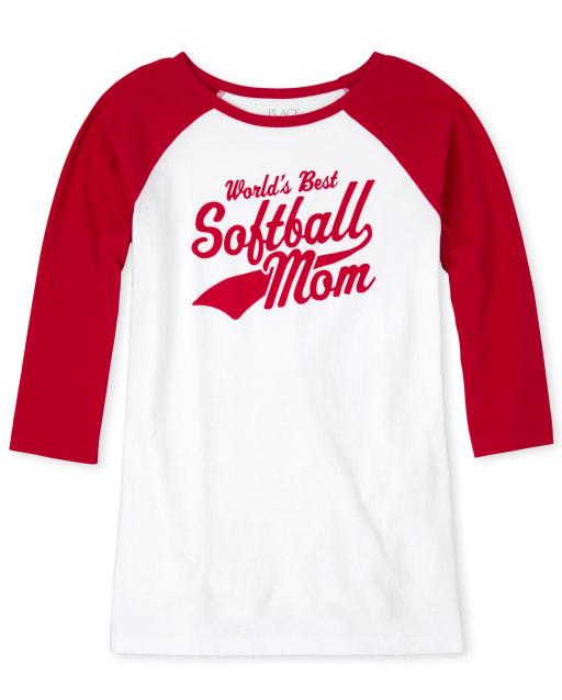 Womens Matching Family Short Raglan Sleeve 'World's Best Softball Mom' Graphic Tee