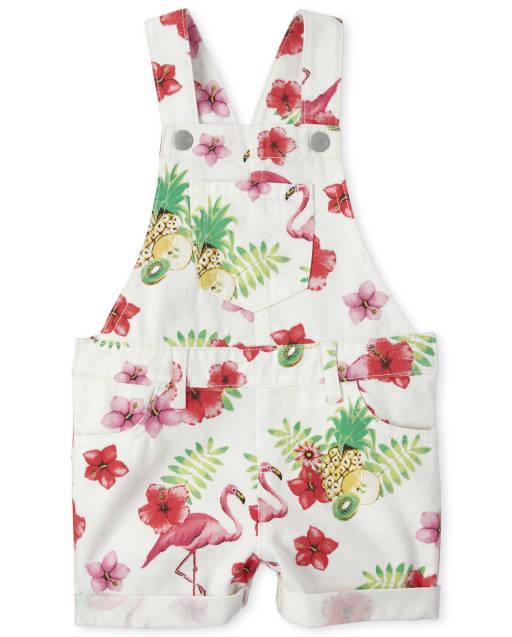 Baby And Toddler Girls Sleeveless Flamingo Print Denim Shortalls