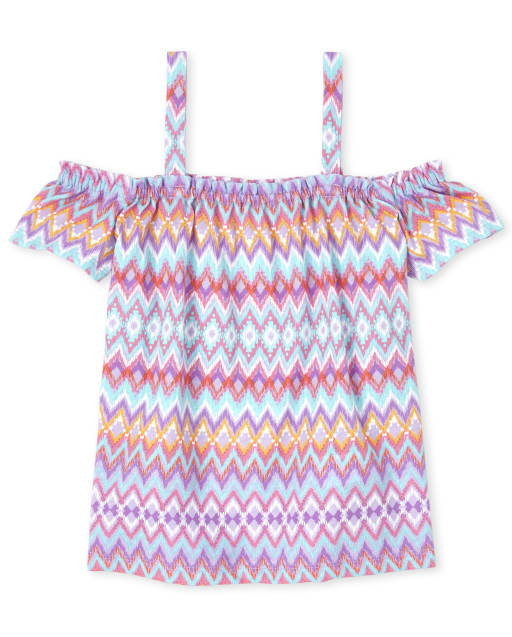 Girls Mix And Match Short Sleeve Print Off Shoulder Top