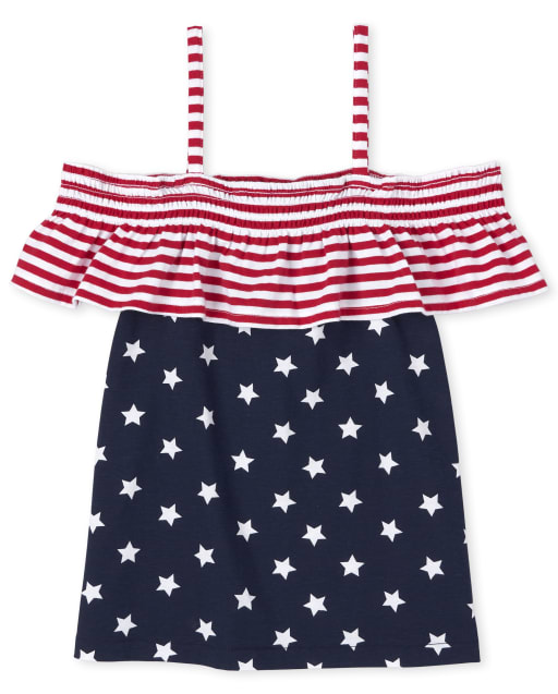 Top con hombros descubiertos Star y Mix Americana para niñas
