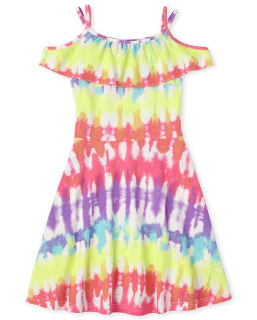 Girls Short Sleeve Tie Dye Print Knit Ruffle Off Shoulder Dress