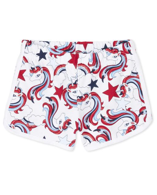 Girls Americana Mix And Match Unicorn Print Knit Dolphin Shorts
