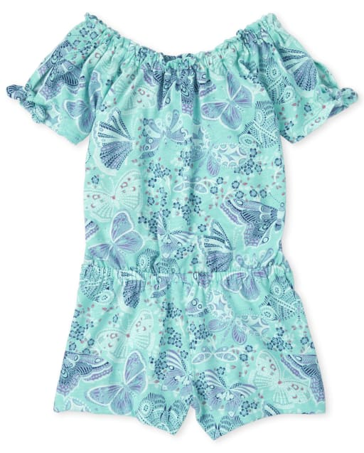 Baby And Toddler Girls Short Sleeve Butterfly Print Knit Romper