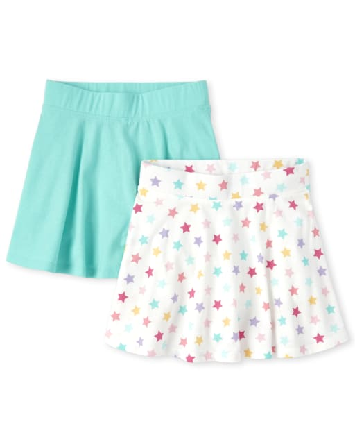 Girls Mix And Match Print And Solid Knit Skort 2-Pack