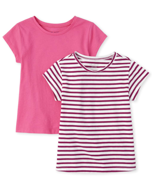 Girls Short Sleeve Print And Solid Basic Layering Tee 2-Pack