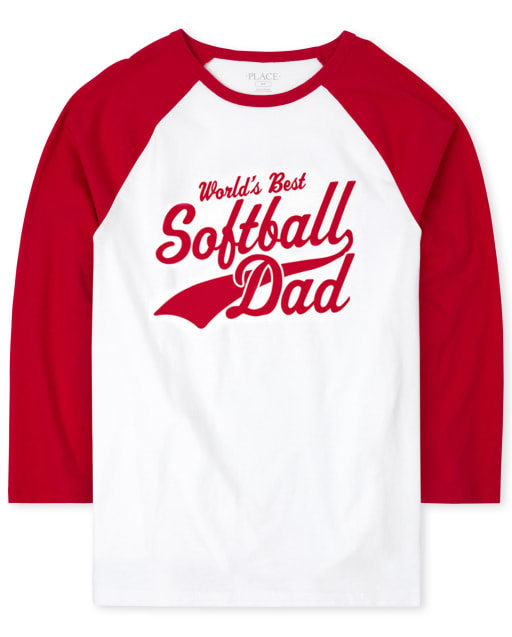 Mens Matching Family Short Raglan Sleeve 'World's Best Softball Dad' Graphic Tee