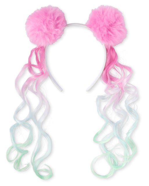 Girls Faux Fur Pom Pom Hair Extension Headband