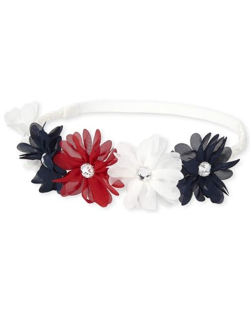 Toddler Girls Americana Rhinestud Flower Braided Headwrap