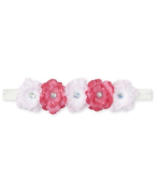 Toddler Girls Rhinestud Flower Headwrap
