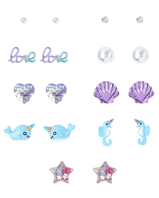 Girls Glitter Narwhal And Shell Earrings 9-Pack