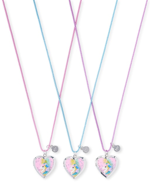 Girls Glitter Unicorn BFF Locket Necklace 3-Pack