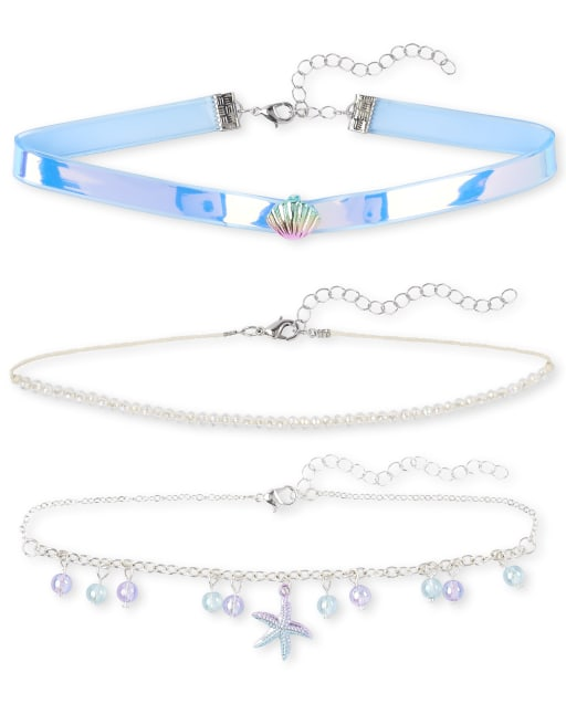 Girls Seashell Choker Necklace 3-Pack