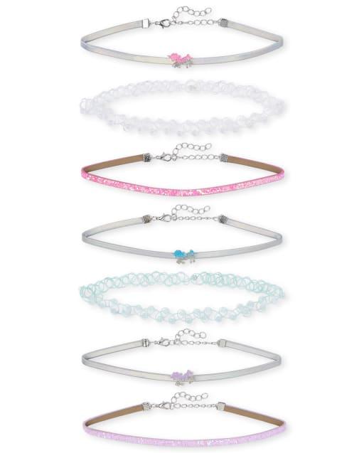 Girls Glitter Unicorn Choker Necklace 7-Pack