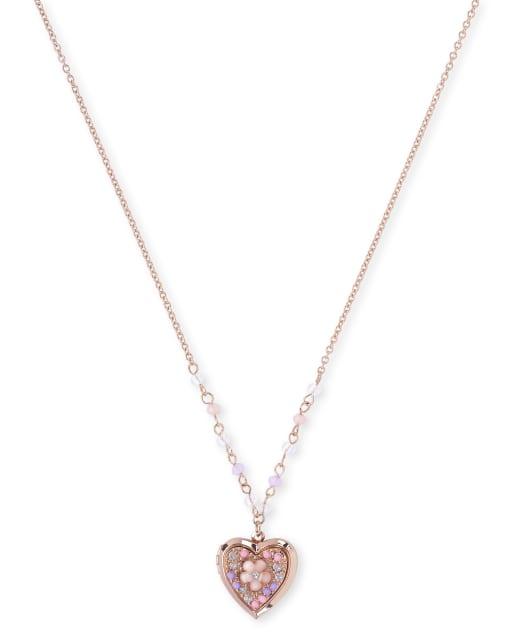 Girls Beaded And Rhinestud Flower Locket Necklace