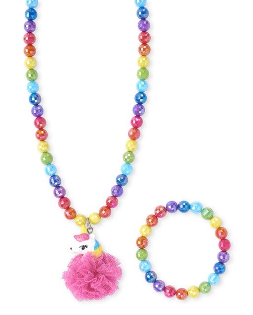 Girls Rainbow Unicorn Beaded Necklace And Bracelet Set