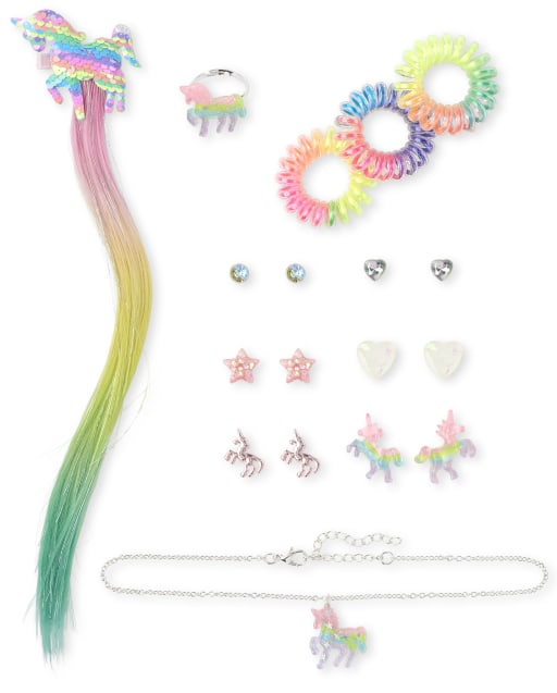 Girls Rainbow Flip Sequin Unicorn 12-Piece Hair And Jewelry Set