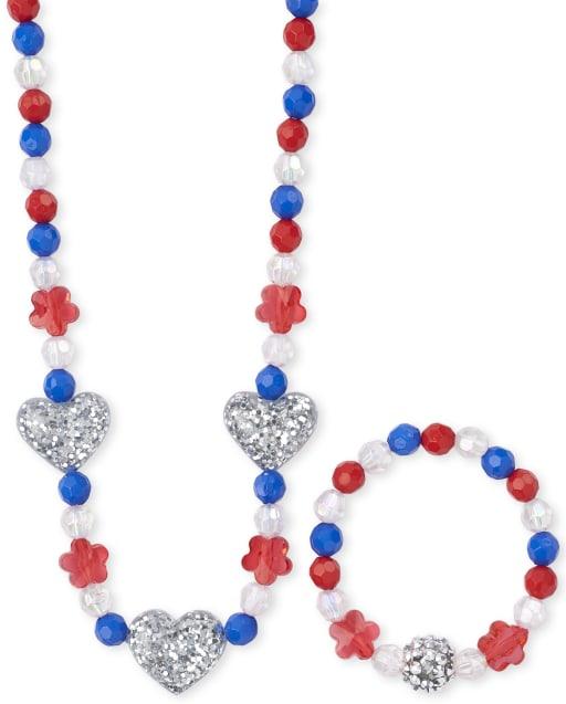 Girls Americana Glitter Heart Beaded Necklace And Bracelet Set
