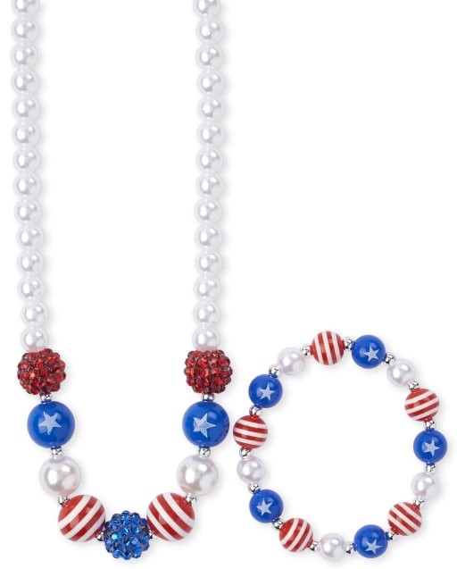 Girls Americana Rhinestud Star Faux Pearl Beaded Necklace And Bracelet Set