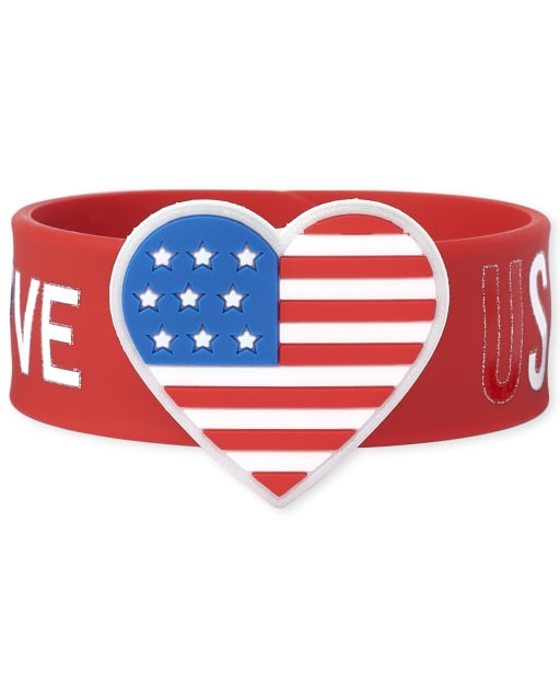 Girls Americana Glitter 'USA' Flag Slap Bracelet