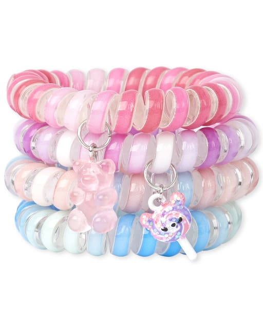 Girls Glitter Candy Bear Coil Bracelet 4-Pack