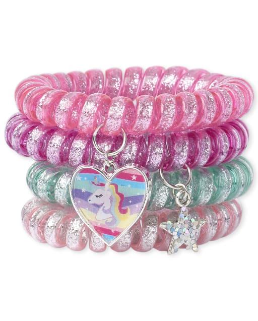 Girls Holographic Lenticular Unicorn Glitter Coil Bracelet 4-Pack