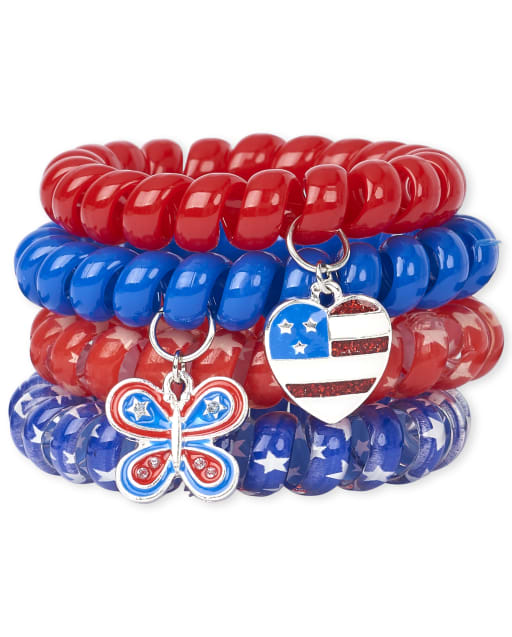 Girls Americana Butterfly Coil Bracelet 4-Pack