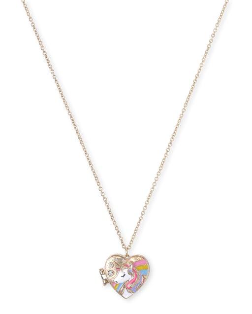 Girls Glitter Unicorn Locket Necklace