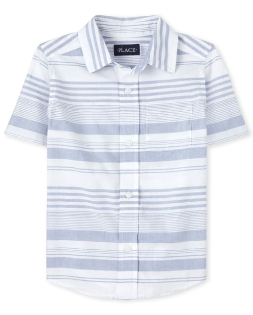 Boys Matching Family Short Sleeve Striped Button Down Shirt