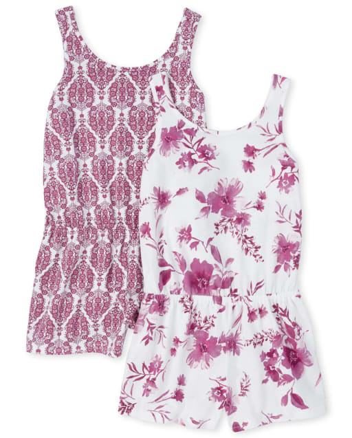 Girls Sleeveless Floral And Paisley Print Knit Romper 2-Pack