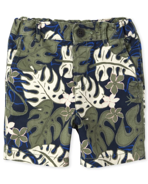 Baby And Toddler Boys Palm And Lizard Print Woven Chino Shorts
