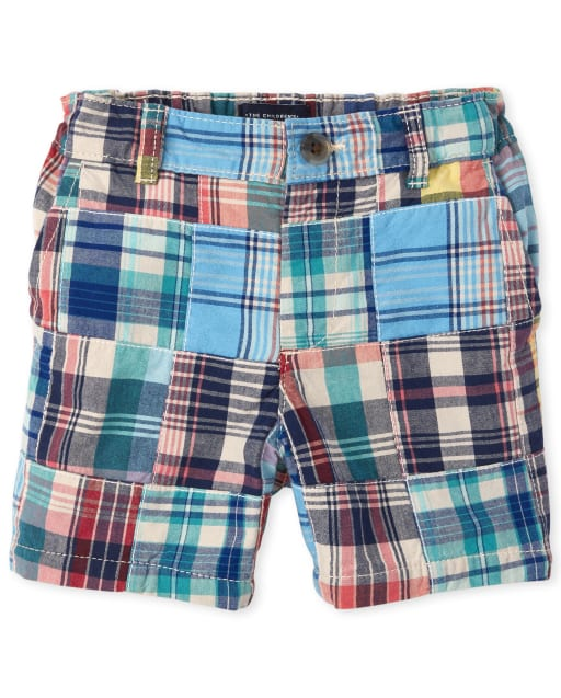 Baby And Toddler Boys Plaid Patch Woven Chino Shorts
