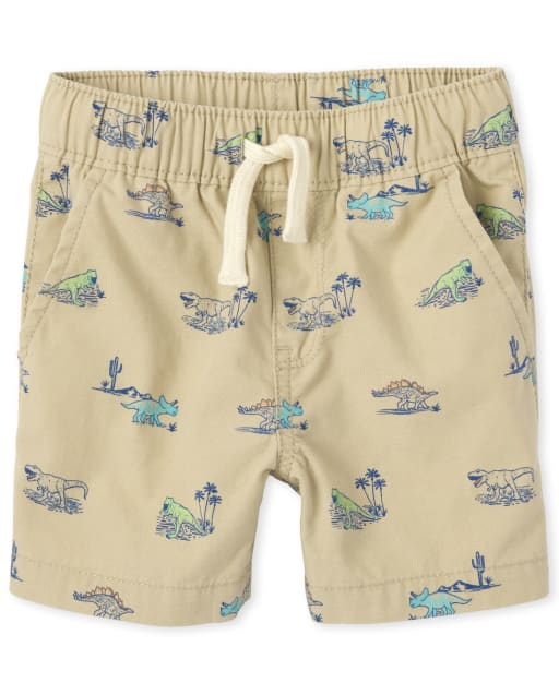 Baby And Toddler Boys Dino Print Woven Pull On Jogger Shorts