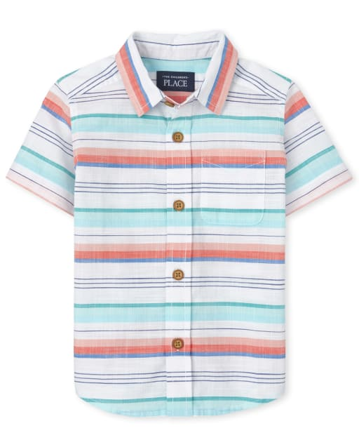 Baby And Toddler Boys Dad And Me Short Sleeve Striped Chambray Matching Button Down Shirt