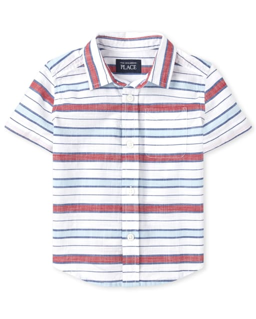 Baby And Toddler Boys Short Sleeve Striped Chambray Matching Button Down Shirt