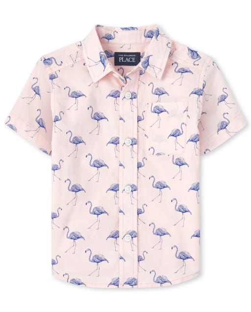 Baby And Toddler Boys Dad And Me Short Sleeve Flamingo Print Poplin Matching Button Down Shirt