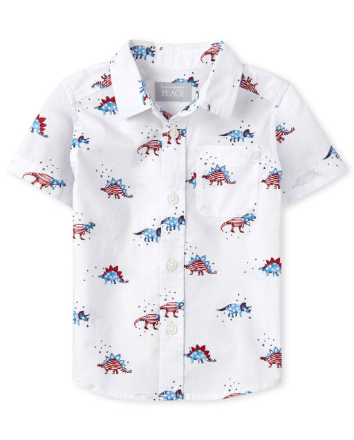 Baby And Toddler Boys Americana Short Sleeve Dino Print Poplin Button Down Shirt