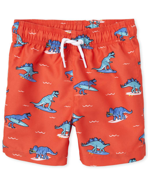 Baby And Toddler Boys Dino Surf Print Swim Trunks