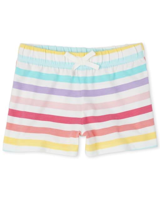 Girls Mix And Match Rainbow Striped Knit Shorts
