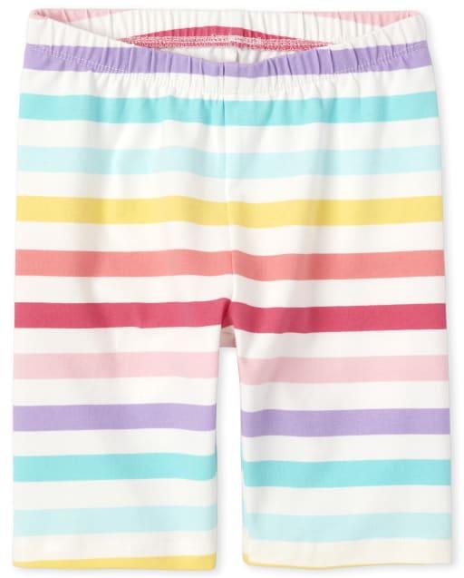 Girls Mix And Match Rainbow Striped Knit Bike Shorts