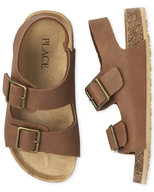 Boys Matching Faux Leather Sandals