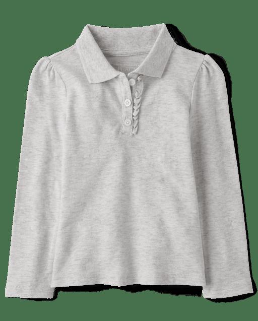Toddler Girls Uniform Long Sleeve Ruffle Pique Polo