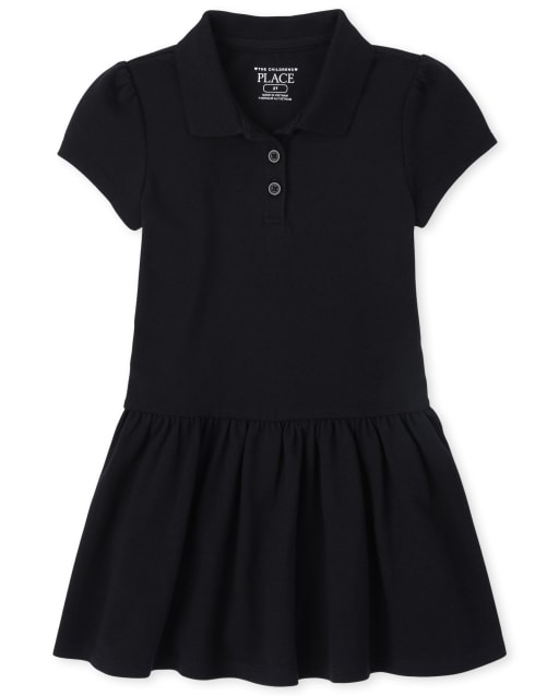 Toddler Girls Uniform Short Sleeve Ruffle Pique Polo Dress