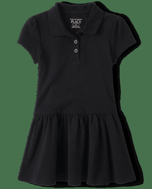 Vestido polo de piqué con volantes y manga corta con uniforme para niñas pequeñas