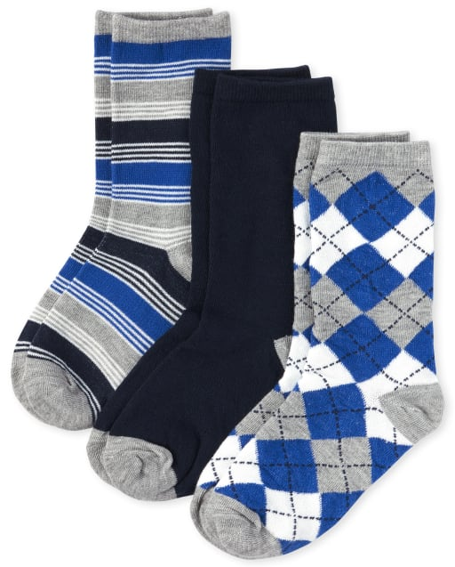 Boys Argyle And Striped Crew Socks 3-Pack