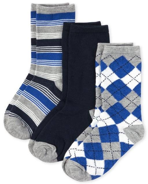 Pack de 3 pares de calcetines a rayas y argyle para niños